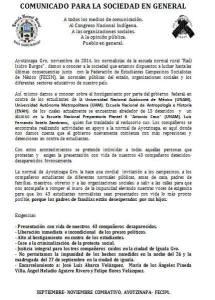 20141109ComunicadoAyotzinapa