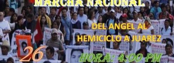 26 oct: Acción Global por Ayotzinapa. Marcha nacional