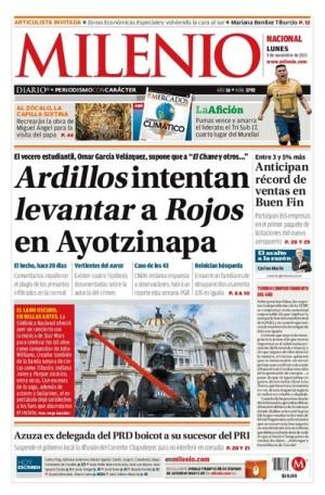 Portada de Milenio del día de hoy con nueva campaña contra Ayotzinapa