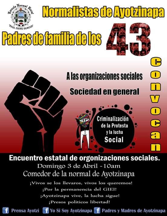 3 abr Encuentro Organizaciones Ayotzinapa