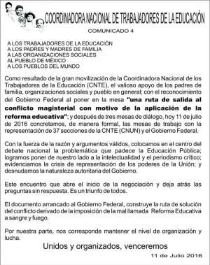 20160711 Comunicado de la CNTE