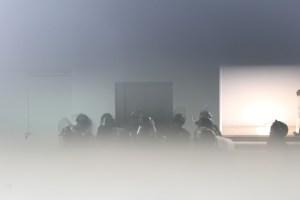 Policías escondidos en el sótano del nuevo palacio municipal