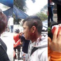 Violento desalojo en proceso con granaderos y golpeadores contra otomíes damnificados de Roma 18 y Londres 7, colonia Juárez