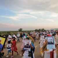 Fotorreportaje de las marchas para exigir la aparición con vida de 7 yaquis desaparecidos en Loma de Bácum, Sonora