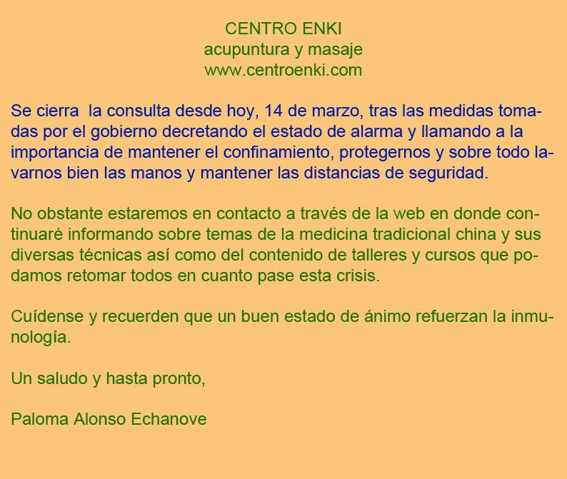 Cierre consulta dia 14 de marzo por el coronavirus