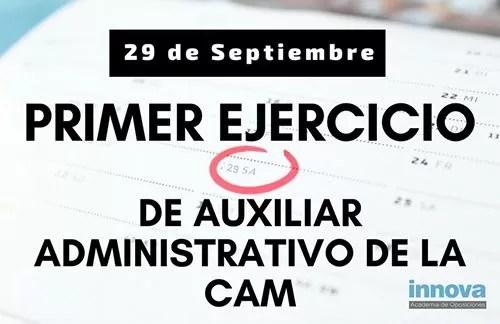 examen auxiliar administrativo CAM 2018