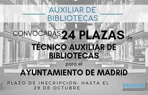 convocatoria auxiliar bibliotecas Madrid