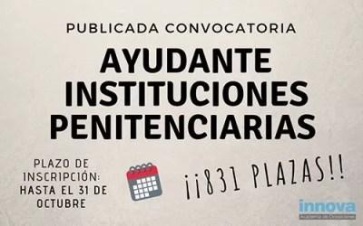 Convocadas 831 plazas de  Ayudantes de Instituciones Penitenciarias 2018