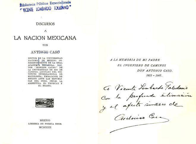 CASO, Antonio. Discursos a la nación mexicana. México: Librería de Porrúa Hnos., 1922.