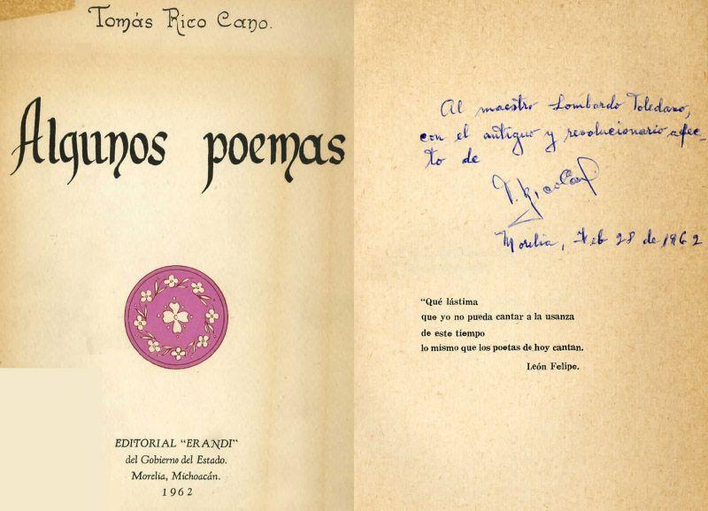 Portada del libro Rico Cano, Tomás. Algunos poemas. Morelia, Michoacán: Erandi, 1962.