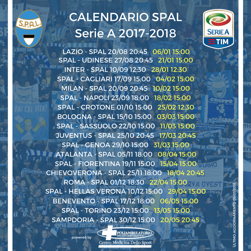 Calendario Serie A Ultime Partite.Spal Calendario Serie A 2017 2018 Poliambulatorio