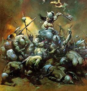 Conan in una celebre illustrazione di Frank Frazetta