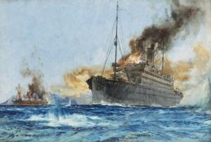 Charles Dixon (1872 - 1934), Sinking Cap Trafalgar. National Maritime Museum, Greenwich, London.