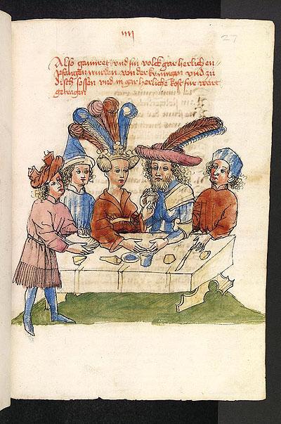Wolfram von Eschenbach, Parzival (manoscritto), Hagenau, Werkstatt Diebold Lauber, circa 1443-1446, Cod. Pal. germ. 339, primo libro, fol. 27r.