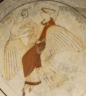 Afrodite su un cigno (tomba F43 Kameiros, Rodi). British Museum. Fonte: Marie-Lan Nguyen (2007) ex wikipedia.