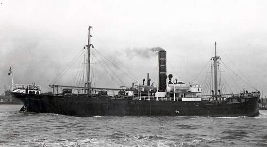 La nave norvegese Arcturus, affondata da una mina il 1 dicembre 1939.