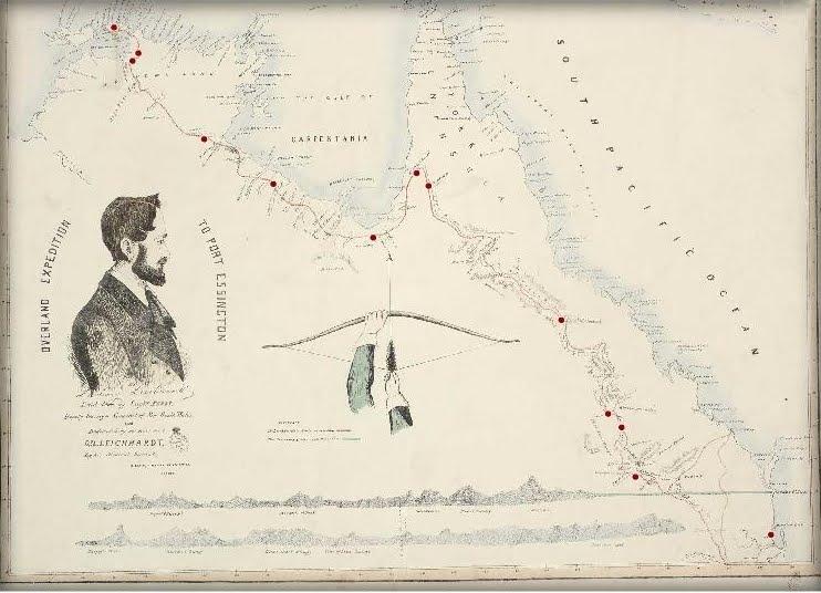 Mappa della prima spedizione australiana di Leichhardt.