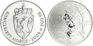 Moneta commemorativa di Knut Hamsun coniata da Norges Bank il 19 febbraio 2009 in occasione del 150° anniversario della nascita del Nobel norvegese.
