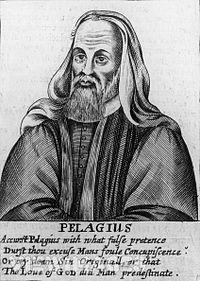 Pélage, représenté dans un ouvrage calviniste du XVIIe siècle accompagné d'une légende le maudissant.
