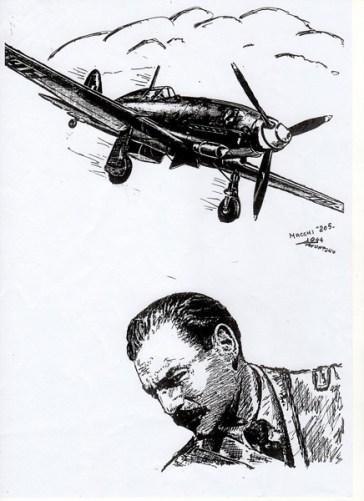 Il maggiore Adriano Visconti. Illustrazione di Mario Montano.
