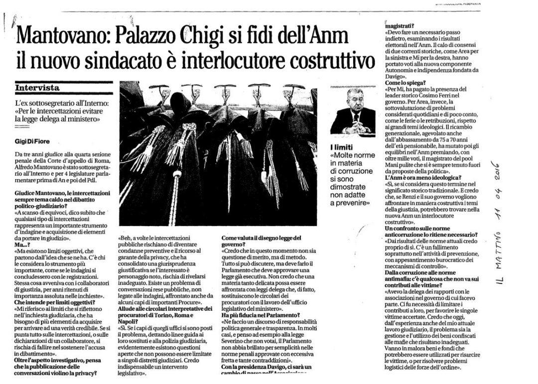 Mantovano: Palazzo Chigi si fidi dell'Anm il nuovo sindacato è interlocutore costruttivo