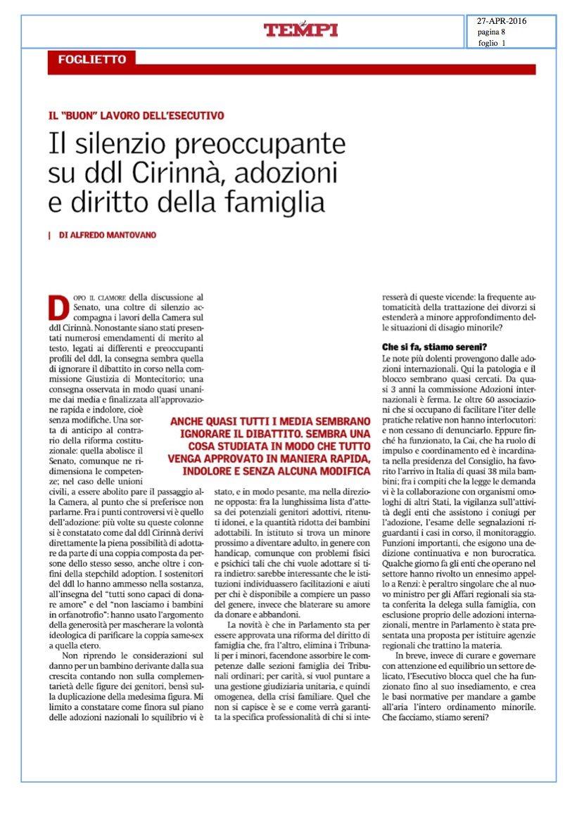 Il silenzio preoccupante su ddl Cirinnà, adozioni e diritto della famiglia