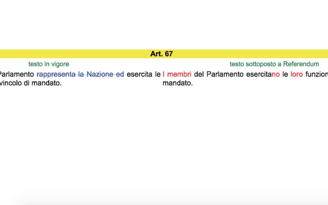 vecchio e nuovo articlo 67 costituzione