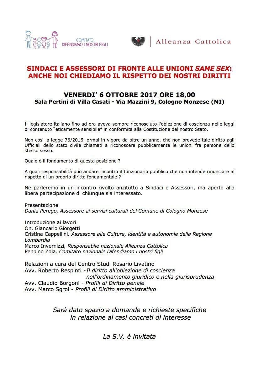 6 ottobre 2017 – Sindaci e assessori di fronte alle unioni same sex