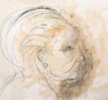 """Pier Paolo Pasolini, """"Ritratto di Maria Callas"""" (1969), tecnica mista su carta"""