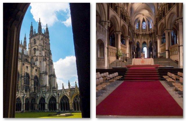 Canterbury, la Cattedrale vista dal Chiostro; interno della Cattedrale, foto di Beatrice da Vela
