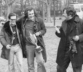 Pasolini e Bernardo Bertolucci nel 1975