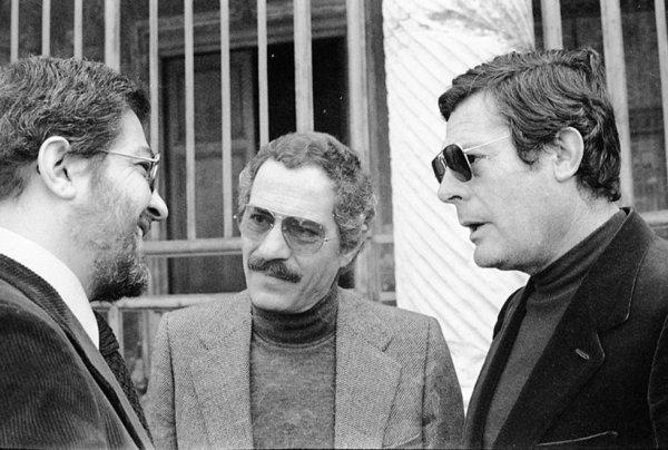 Da sx, Ettore Scola, Nino Manfredi e Marcello Matsroianni