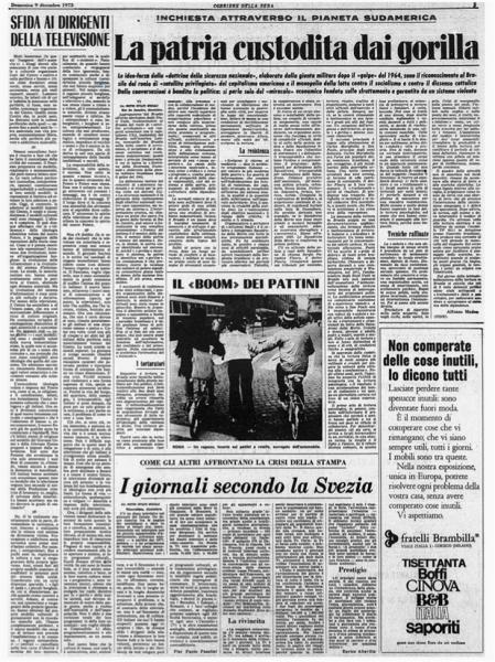 """""""Il Corriere della Sera"""" con l'articolo corsaro di Pasolini """"Sfida ai dirigenti della televisione"""" (1974)"""