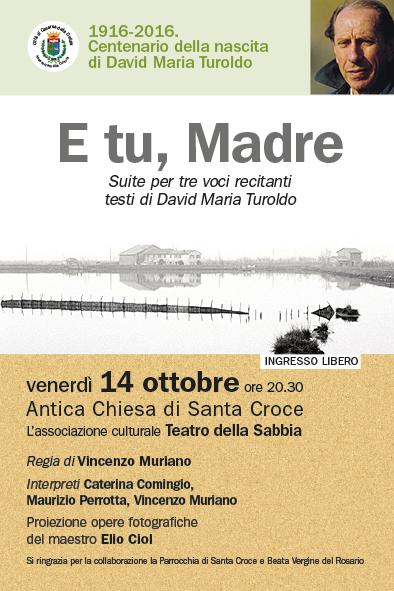 """E tu, Madre"", suite per David Maria Turoldo. Cartolina"