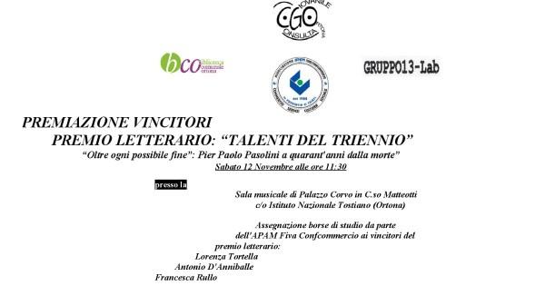 """Premio """"Talenti del trienno"""" a Ortona"""