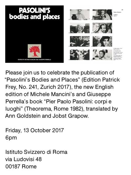 """Presentazione del libro """"Pasolini's Bodies and """". Invito"""