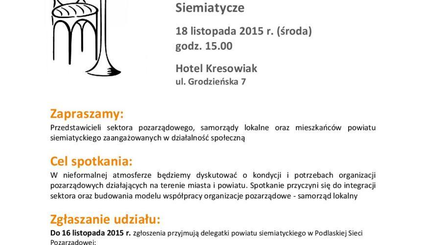 Kawiarenka Obywatelska – Siemiatycze, 18 listopada 2015