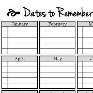 Dates To Remember-Free Printable
