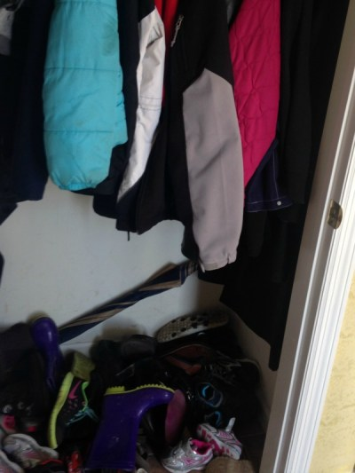 How to organize a small entry closet. Maximize the space in your coat closet with these tips to organize coats, shoes, and accessories. | Cents and Order