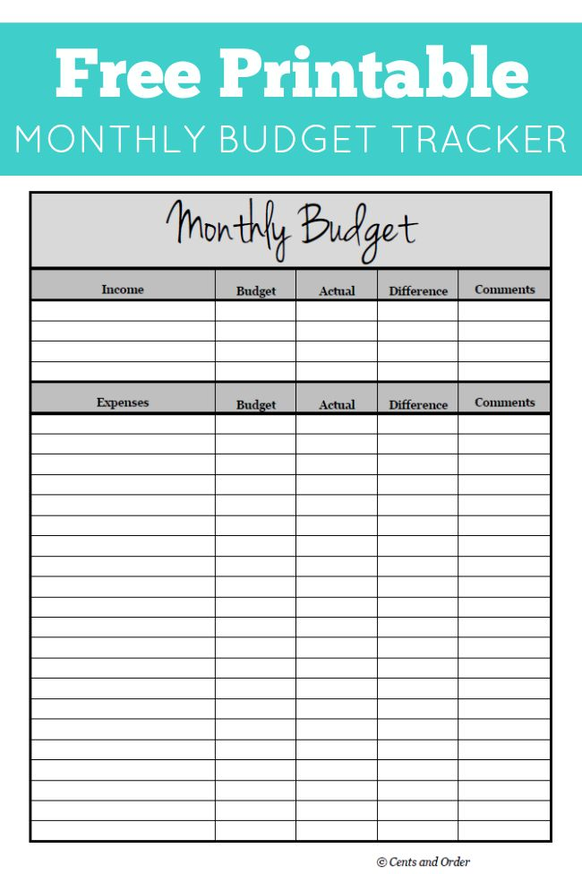 free household budget form