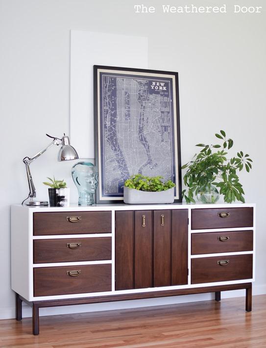 wood white credenza