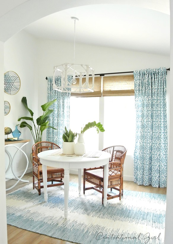 blue and white sunroom and window treatments