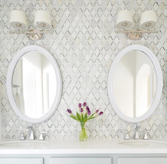 diamond pattern master bathroom backsplash