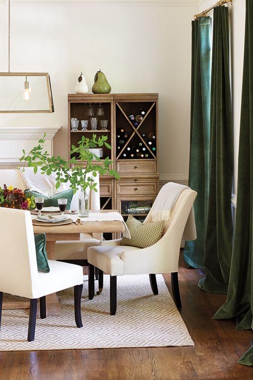 olive green velvet drapes