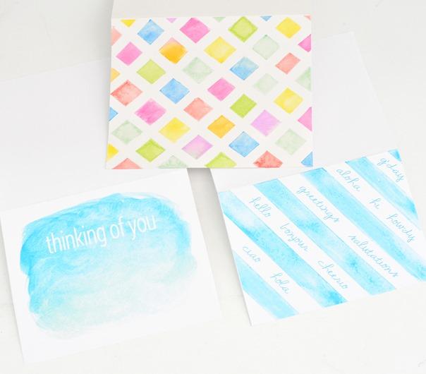 trio watercolor note cards