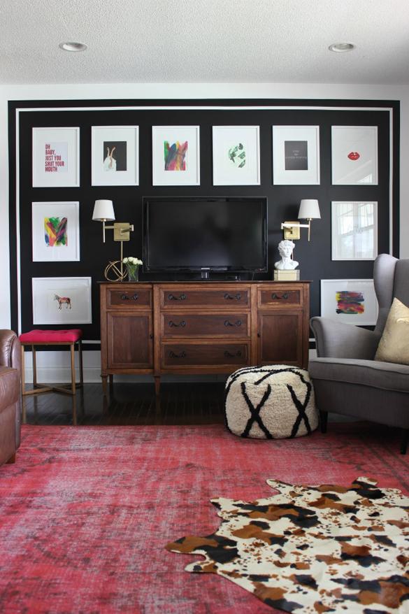 symmetrical art around television