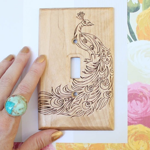 woodburned switch plate