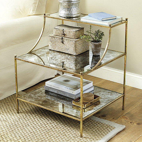 glass gold side table