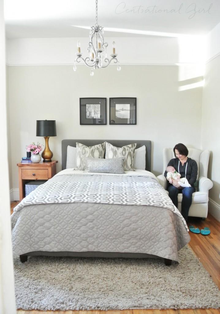 gray master bedroom linens
