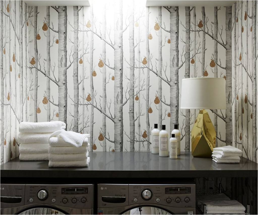 nicole gibbons wallpapered laundry room